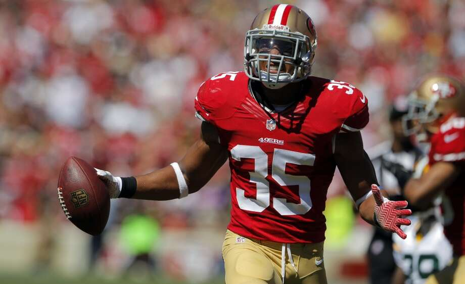 Eric Reid celebrates his seond quarter interception. The San Francisco 49ers played the Green Bay Packers at Candelstick Park in San Francisco, Calif, on Sunday, September 8, 2013. Photo: Carlos Avila Gonzalez, The Chronicle