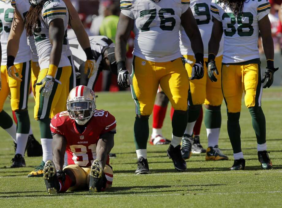 Anquan Boldin sat on the ground after being injured briefly in the second half sunday September 8, 2013. The San Francisco 49ers open their 2013 season with a 34-28 victory against the Green Bay Packers at Candlestick Park in San Francisco, Calif. Photo: Brant Ward, The Chronicle