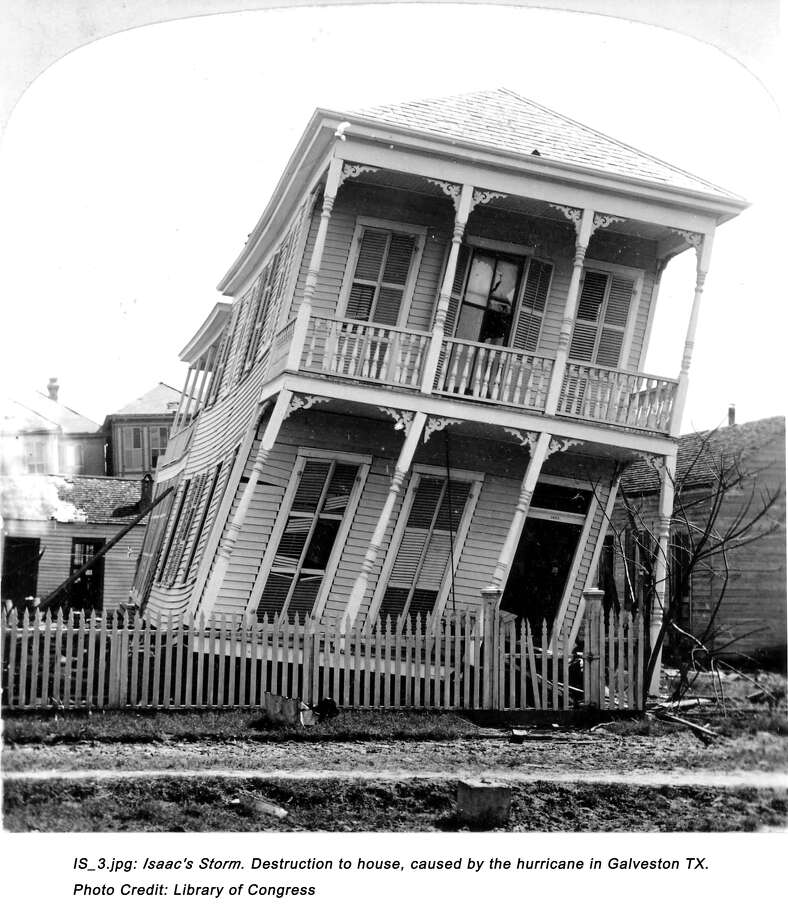 September 1900: Destruction to house, caused by the hurricane in Galveston, Texas. Photo: Library Of Congress, History Channel / handout