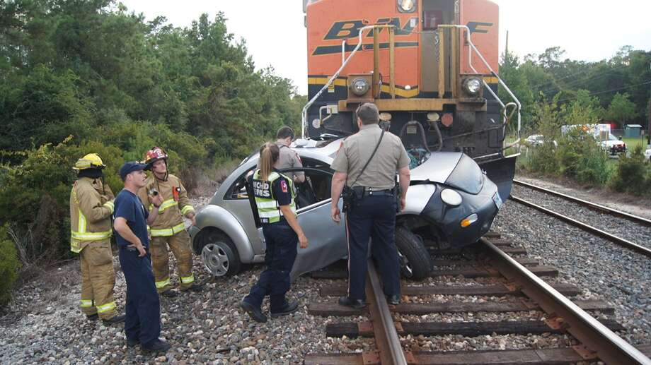 A train in Montgomery County hit a Volkswagen on the tracks Sept. 8, 2013. (Montgomery County Police Reporter)