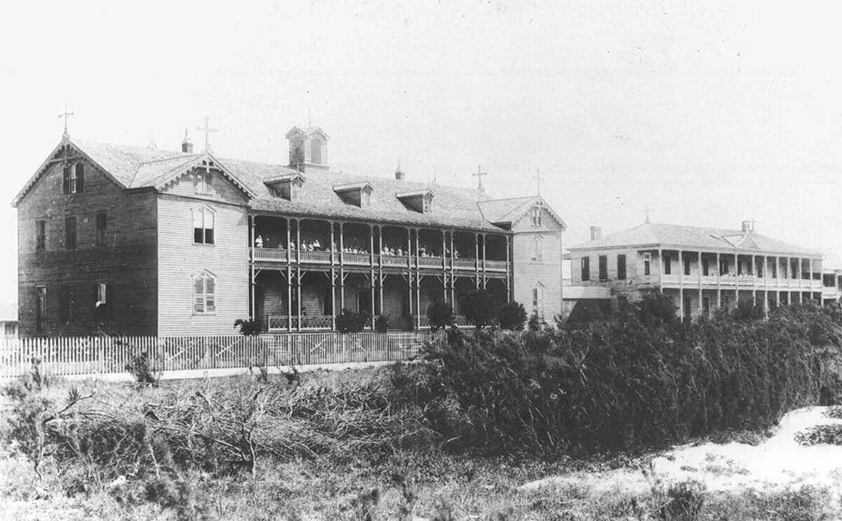 1896: The orphanage of the Sisters of Charity of the Incarnate Word is shown in this circa 1896 photo where it sat in the sand dunes along the gulf coast in Galveston, Texas. Both buildings were destroyed and 90 children and 10 nuns were killed when a hurricane slammed into the island Sept. 8, 1900.