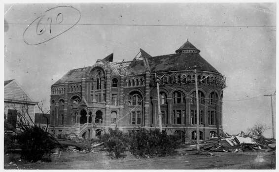 1900 STORM SECTION: Damage to Galveston, Texas during the 1900 Storm. Ruins of the Ashbel Smith Building, also known as 'Old Red,' after being hit on September 8, 1900, when a hurricane of 100-plus miles per hour and towering tidal waves crossed the Galveston, Texas island and destroyed or damaged most of the city, killing thousands. 'Old Red' still stands today. CREDIT: Rosenberg Library, Galveston, Texas NO SALES NO TRANSMISSIONS NO MAGS NO INTERNET ONE TIME USE.