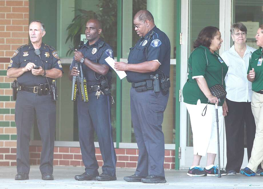 """Spring ISD Police Chief Victor Mitchell describes the morning as """"a smooth, uneventful opening."""" Some 34 officers were on campus, and the district beefed up security at the other two high schools. Photo: Mayra Beltran, Houston Chronicle"""