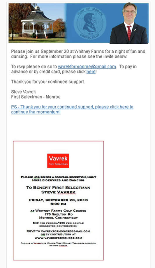 This email that is the subject of a  State Elections Eforcement Commission (SEEC) complaint by Monroe Democrats against Steve Vavrek's campaign Photo: Contributed Photo