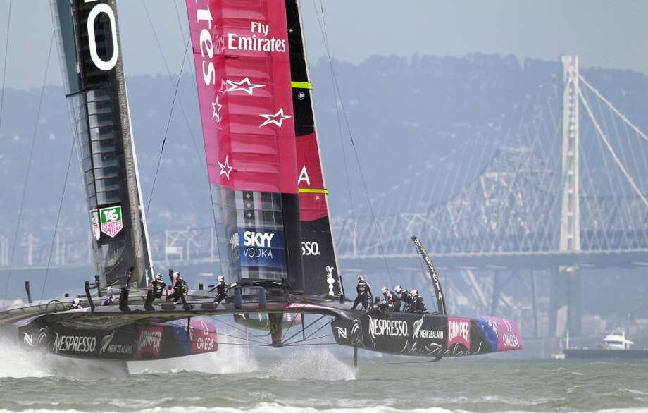 Emirates Team New Zealand attempts to close the gab on Oracle Team USA on the first leg of Race 4 of the America's Cup Finals on Sunday, September 8, 2013 in San Francisco, Calif. (Beck Diefenbach/Special to the Chronicle) Photo: Beck Diefenbach, Special To The Chronicle