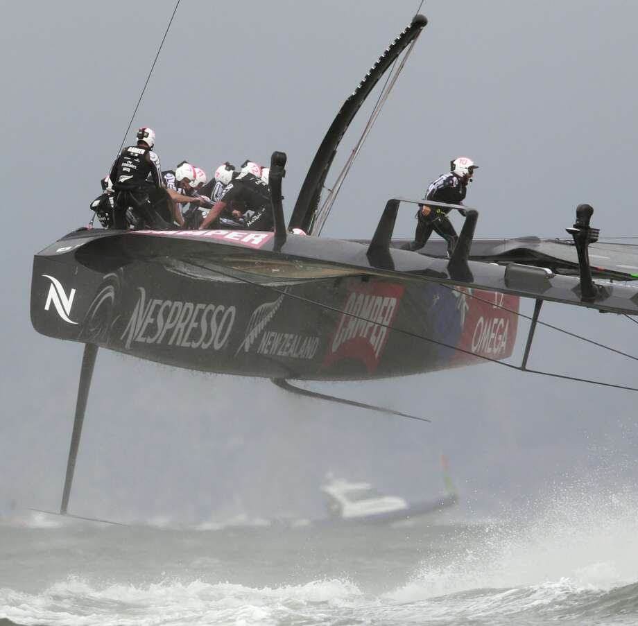 Emirates Team New Zealand turns for the third leg of Race 4 of the America's Cup Finals on Sunday, September 8, 2013 in San Francisco, Calif. (Beck Diefenbach/Special to the Chronicle) Photo: Beck Diefenbach, Special To The Chronicle