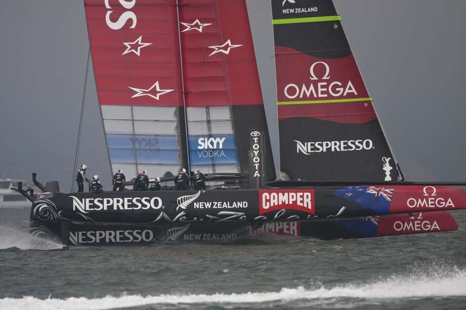 Emirates Team New Zealand finding itself playing catch-up during race number 3 during the 43rd America's Cup. (Frank Quirarte/Special to the Chronicle) Photo: Frank Quirarte, Special To The Chronicle