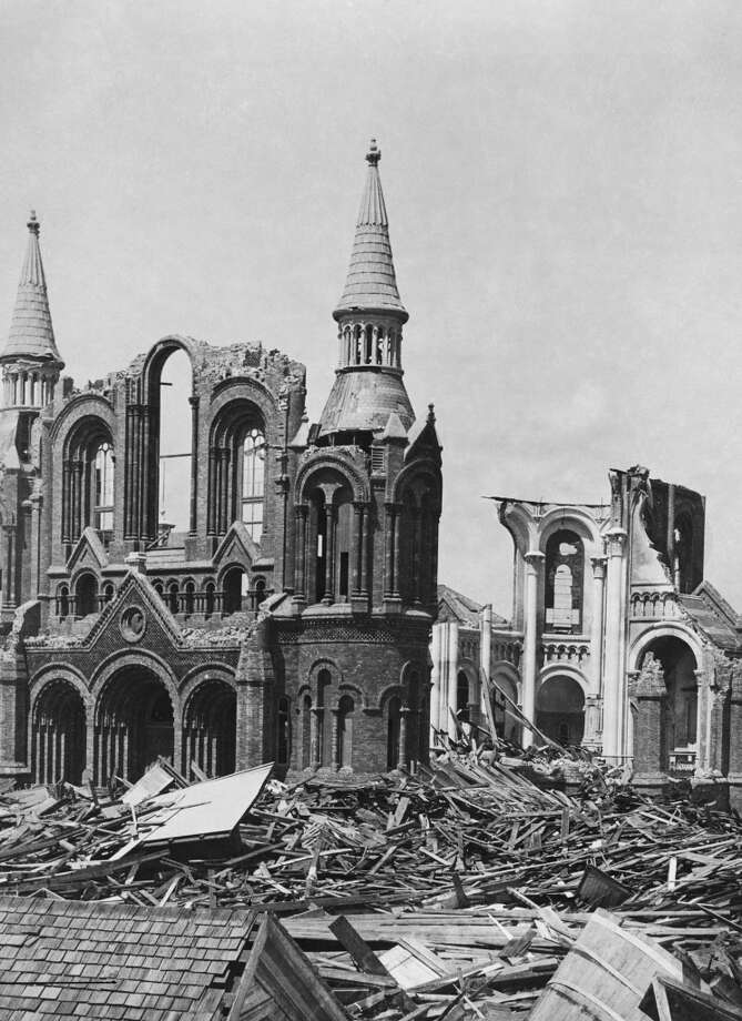 September 1900: The ruins of the Sacred Heart Church in Galveston, Texas after the category 4 Hurricane which struck on Sept. 8, 1900. Photo: FPG, Getty Images