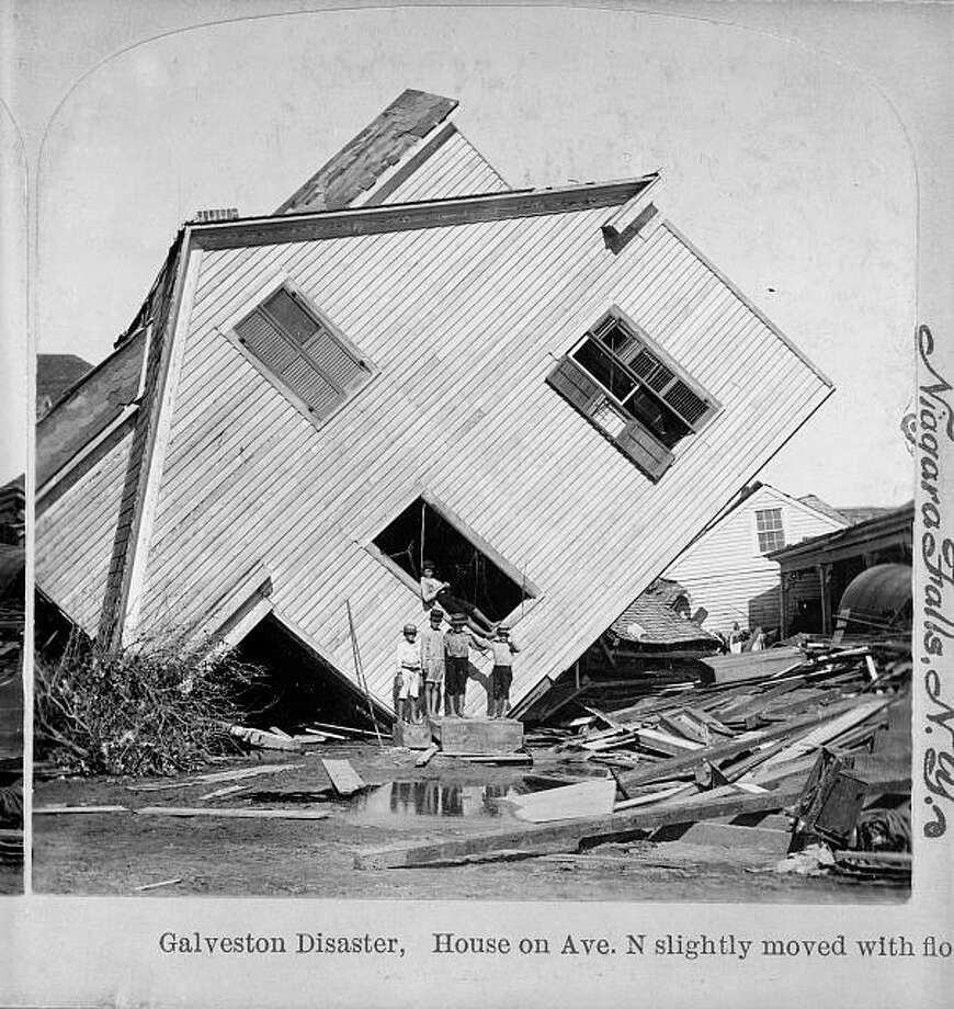 A house on Avenue N sits on its side in the aftermath of the 1900 Galveston hurricane. Photo: U.S. Library Of Congress