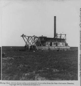 A dredge boat was left three miles in shore  in the aftermath of the 1900 Galveston hurricane. Photo: U.S. Library Of Congress