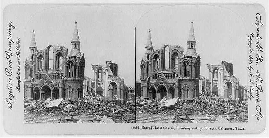 September 1900: Sacred Heart in the aftermath of the 1900 Galveston hurricane. Photo: U.S. Library Of Congress