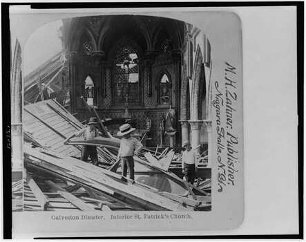 St. Patrick's  in the aftermath of the 1900 Galveston hurricane. Photo: U.S. Library Of Congress