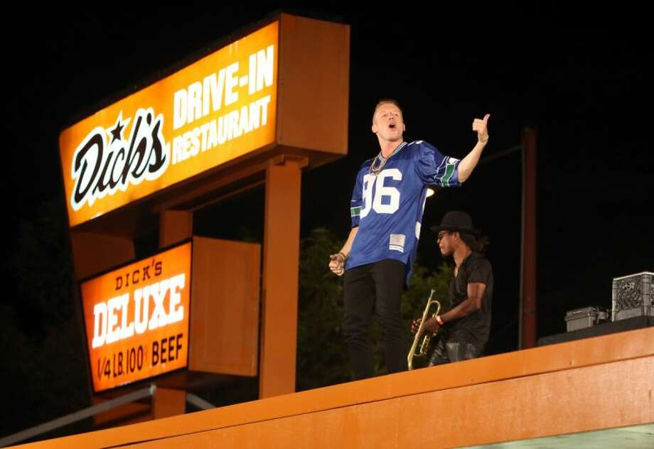 Macklemore andRyan Lewis perform for a video shoot on Wednesday on the roof of the Capitol Hill Dick's Drive-In. Photo: JOSHUA TRUJILLO/SEATTLEPI.COM