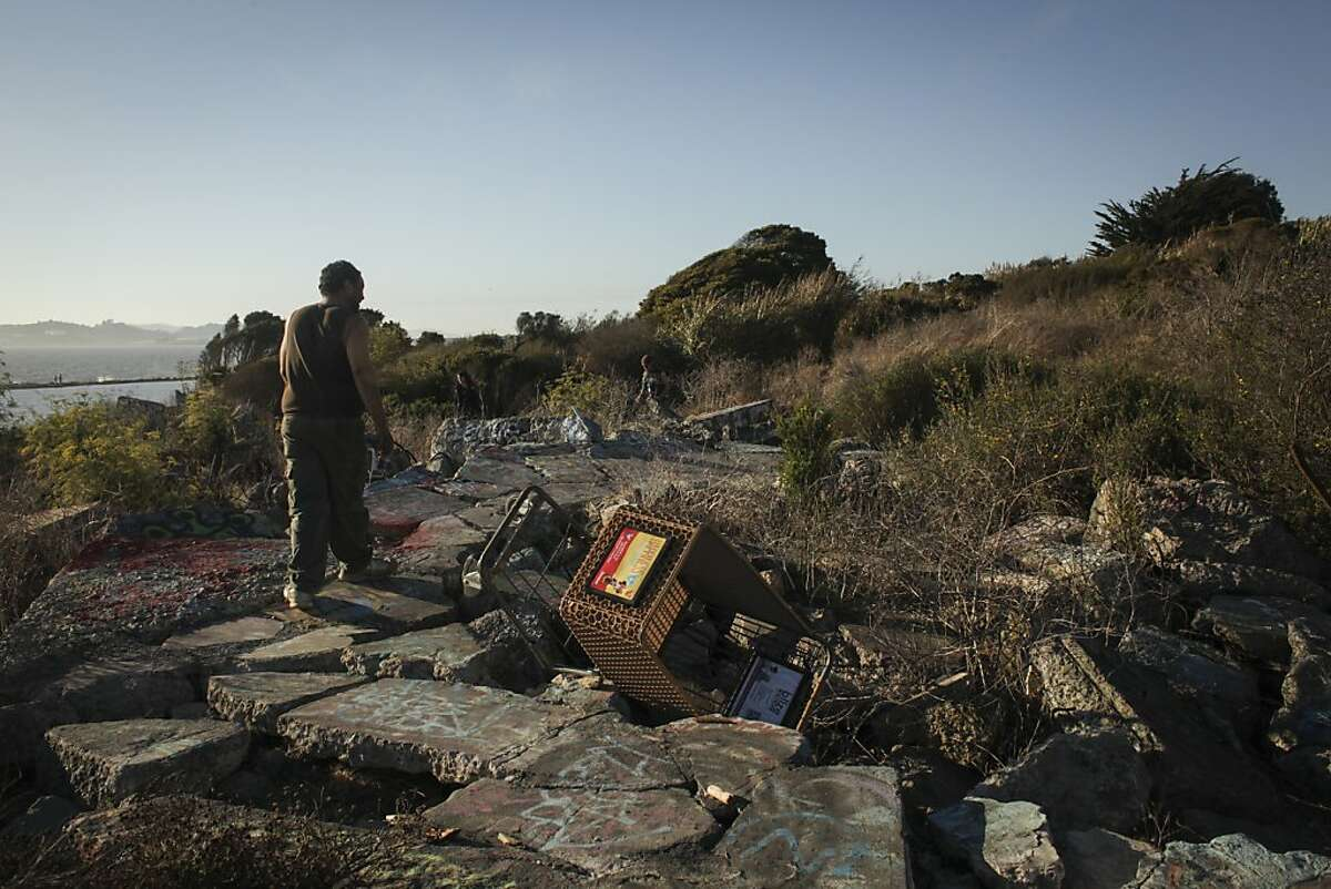 Micheal Wilson, a three year resident of the Albany Bulb takes a stroll on September 9th 2013. Wilson was born on the streets of San Francisco and has been homeless his whole life. Albany will soon enforce a anti-camping law in the park where 60 - 70 currently reside.