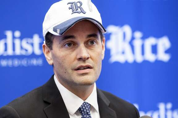 Rice athletic director Joe Karlgaard addresses reporters during Monday's introductory news conference.