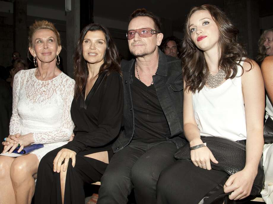 Trudie Styler, Alison Hewson, Bono and Jordan Hewson attend the Edun fashion show during Mercedes-Benz Fashion Week Spring 2014 at Skylight Modern on September 8, 2013 in New York City. Photo: Allison Joyce, Getty Images