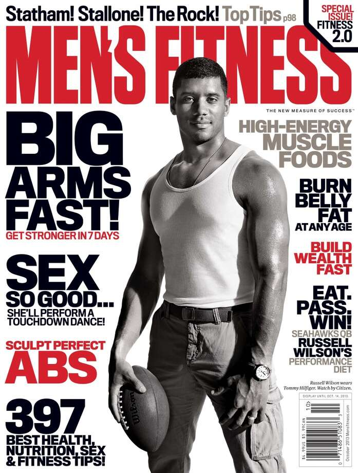 Russell Wilson was spotlighted on the cover of Men's Fitness magazine's October issue. Photo: Promotional Image, Men's Fitness