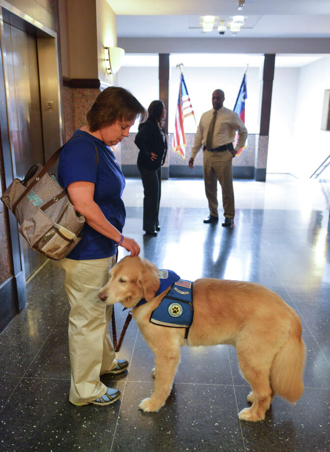 Becky Snodgrass and her therapy dog Sampson wait for an elevator in the Bexar County Courthouse. Photo: Robin Jerstad