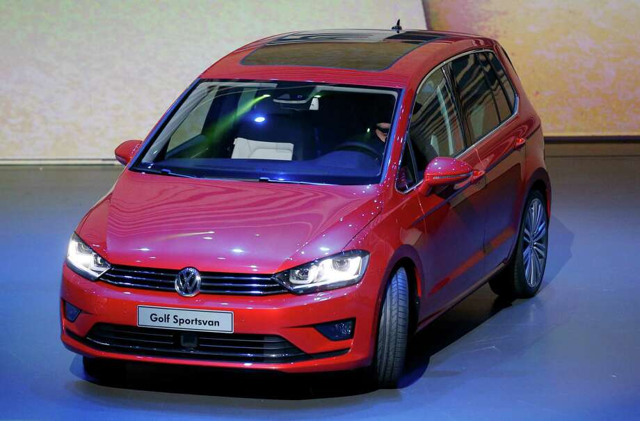 The new Golf Sportsvan is displayed during a preview by the Volkswagen Group prior to the 65th Frankfurt Auto Show in Frankfurt, Germany, Monday, Sept. 9, 2013. Photo: AP