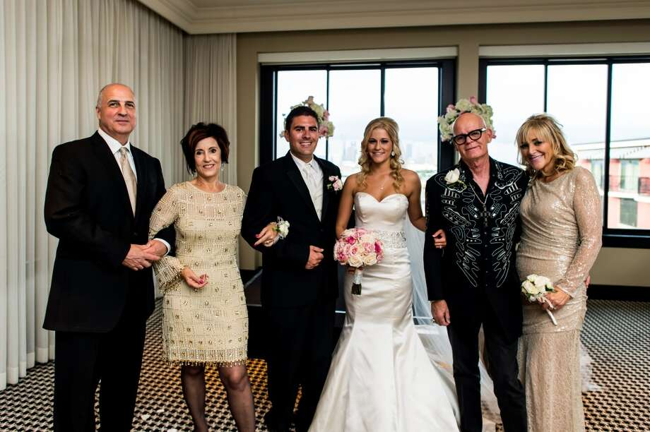 Mother-of-the-bride Lisa Freede, right, and her fiancé Michael Mattalino, left, join, Mary and Keith Hudson and newlyweds Brian and Ashlee Leaumont at Hotel Zaza. Photo: Fernando Weberich