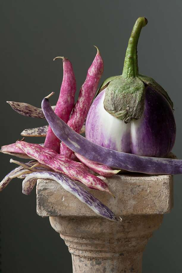 "Lynn Karlin's ""Calliope: Eggplant With Beans"" features a Rosa Bianca eggplant, Tongue of Fire (red) beans and Dragon Tongue (purple) beans. Photo: Lynn Karlin"