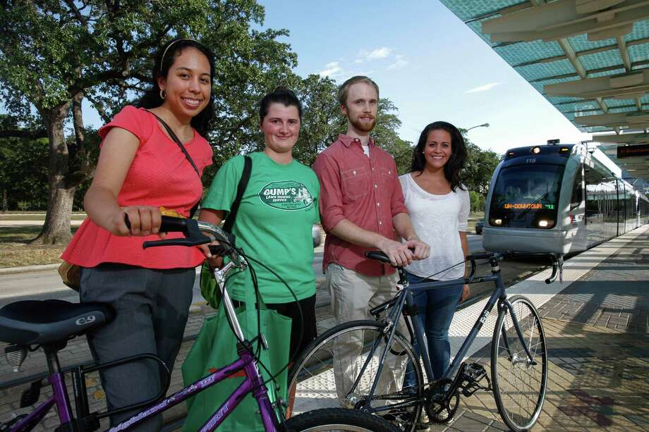 Members of Houston Action Research Team-Metro Maria Rangel, left, Skye Kelty, Austin Jarvis and Laura Lopez say there are a lot of challenges ahead as they work with local community groups to integrate bicycling and mass transit. Photo: Eric Kayne / ©Eric Kayne 2013