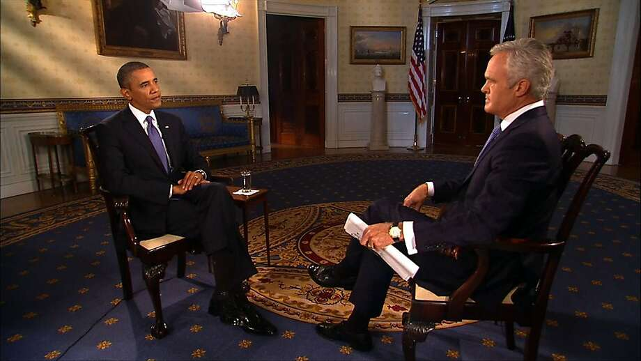President Obama is interviewed by Scott Pelley as he tries to rally support for an attack in Syria. Russia has proposed Syria hand over its chemical arms. Photo: Associated Press