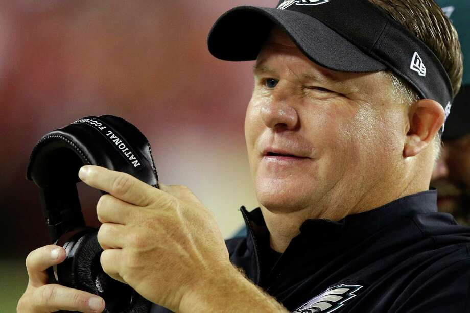 Philadelphia Eagles head coach Chip Kelly winks as he watchers the action on the field during the second half of an NFL football game against the Washington Redskins in Landover, Md., Monday, Sept. 9, 2013. (AP Photo/Alex Brandon) Photo: Alex Brandon, Associated Press / AP