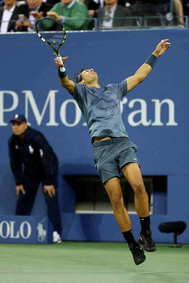 No. 2 Rafael Nadal rejoices after his four-set win over top seed Novak Djokovic to win his second U.S. Open and 13th career Grand Slam title. Photo: Elsa / Getty Images