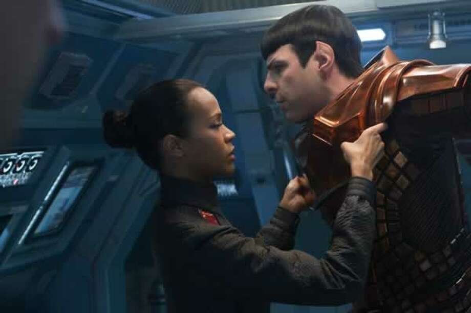 Uhura (Zoë Saldana) and Spock (Zachary Quinto) share a moment. Photo: Paramount Pictures, 2013