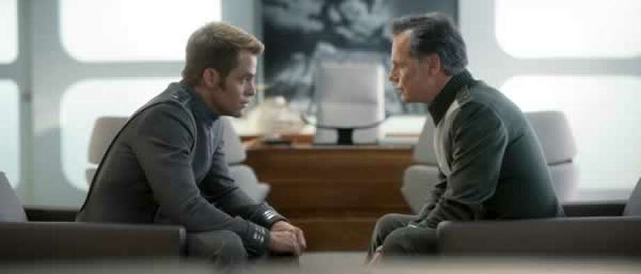 Kirk (Chris Pine) and Pike (Bruce Greenwood) discuss Kirk's future. Photo: Paramount Pictures, 2013