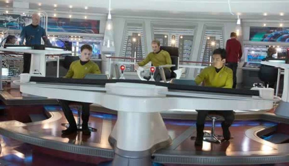 Chekov (Anton Yelchin), Kirk (Chris Pine) and Sulu (John Cho) on the Enterprise Bridge. Photo: Paramount Pictures, 2013