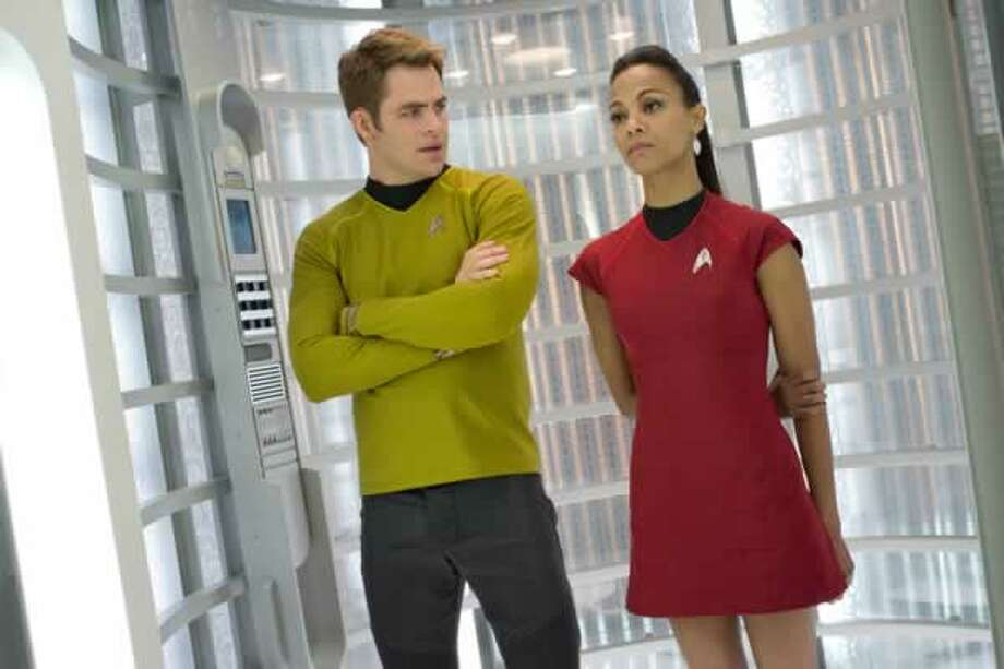 Kirk (Chris Pine) and Uhura (Zoë Saldana). Photo: Paramount Pictures, 2013