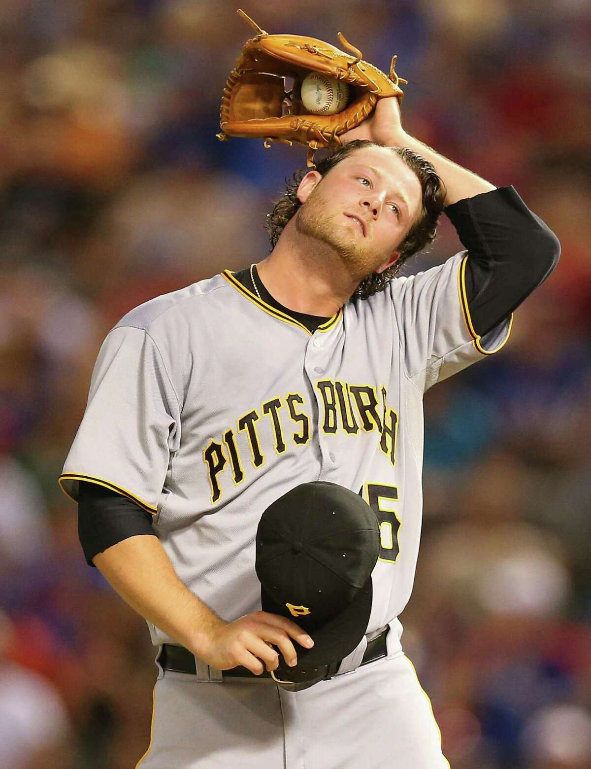 Pittsburgh's Gerrit Cole pitched seven shutout innings in a victory over Texas in Arlington.