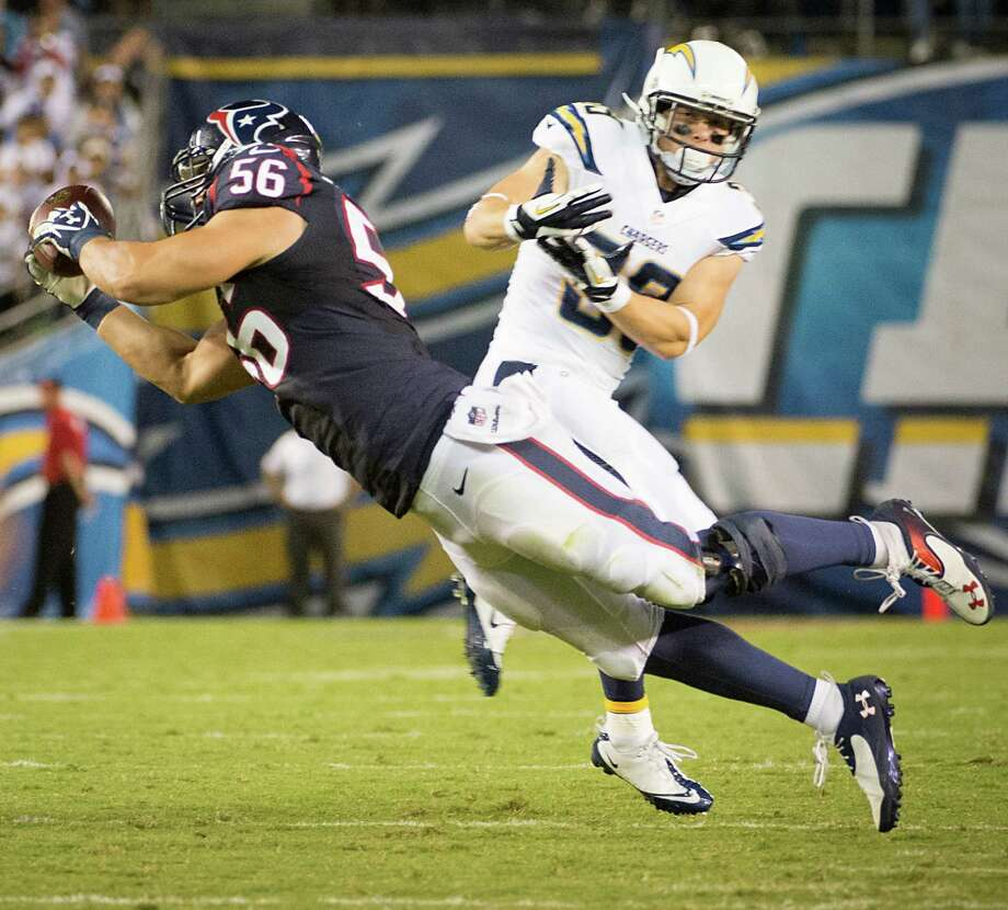 Linebacker Brian Cushing (56) says the Texans' defense needs more big plays - like his interception of San Diego quarterback Philip Rivers in the season opener. Photo: Smiley N. Pool, Staff / © 2013  Houston Chronicle