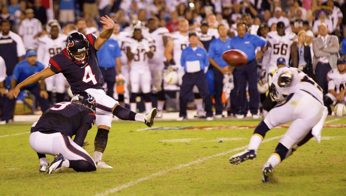 Texans kicker Randy Bullock strikes the 41-yard, game-winning field goal straight and true to cap the Texans' comeback from a 21-point second-half deficit and defeat the Chargers on Monday night.