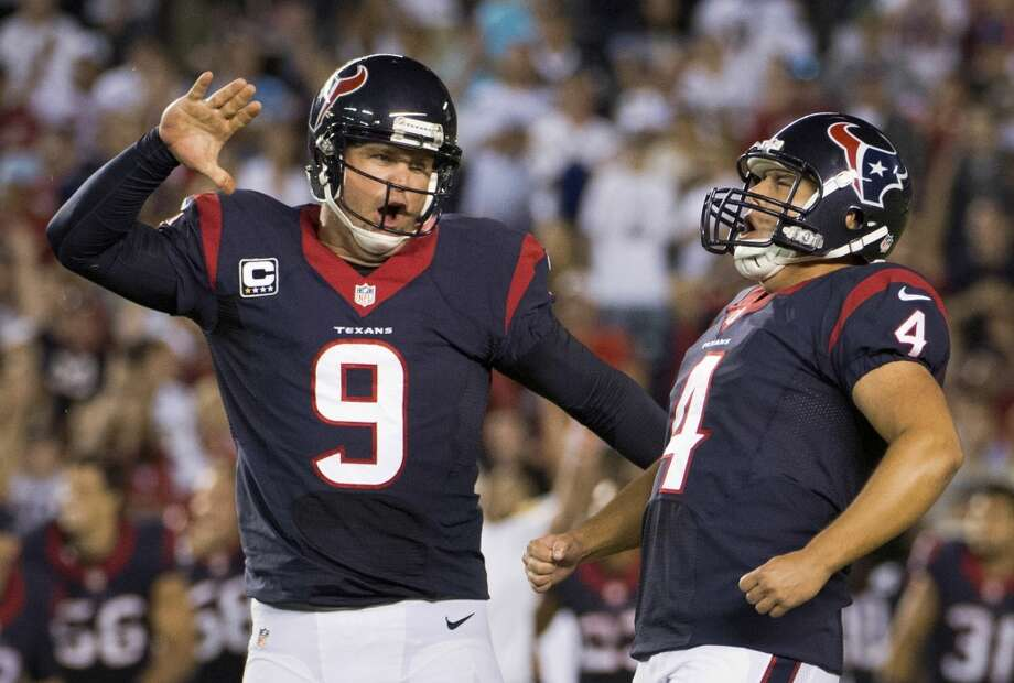 Texans 31, Chargers 28  Texans kicker Randy Bullock (4) celebrates with Shane Lechler (9) after kicking a 41-yard field goal for the win in a 31-28 victory over the Chargers. Photo: Smiley N. Pool, Houston Chronicle