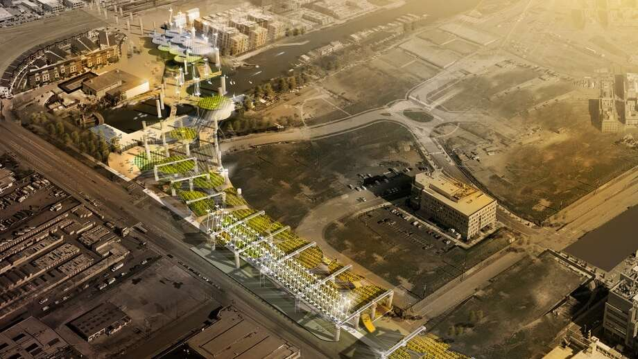 "Seismic Harvest, by D.IS.H, winner of the ""Special Acknowledgement"" prize.  In this concept, a green belt rises above the scar of the existing freeway. This green belt would help the city with food and energy production.  Says Archetucture and Design: ""No longer supporting the freeway deck, the columns and beams are now part of a luxuriant aerial garden."" The project has several layers: on the ground, the lower deck of the freeway has been flipped, creating a plant bed for community gardening. This could also contribute to energy harvest, as with the energy collected from wind, solar and train vibration can be captured and made efficient use of. On the top level, an observation tower with panoramic and walking path, a place to swim and/or hop on a boat, as well as an outdoor screen for movies and a café are envisioned.  Rendering via Center for Architecture and Design"