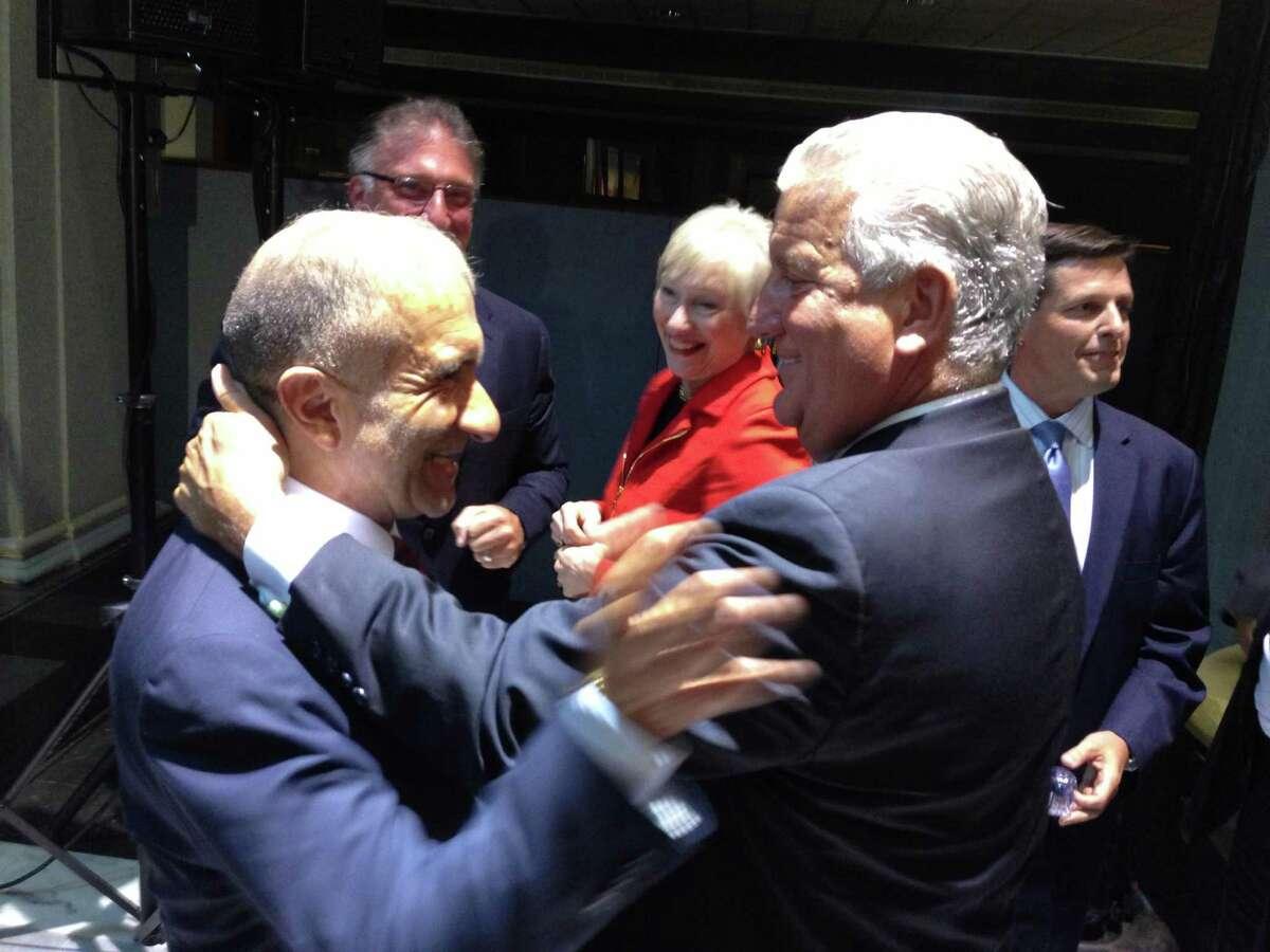 CNSE Senior Vice President and CEO Alain Kaloyeros with Albany Mayor Jerry Jennings in 2013. (Casey Seiler / Times Union )