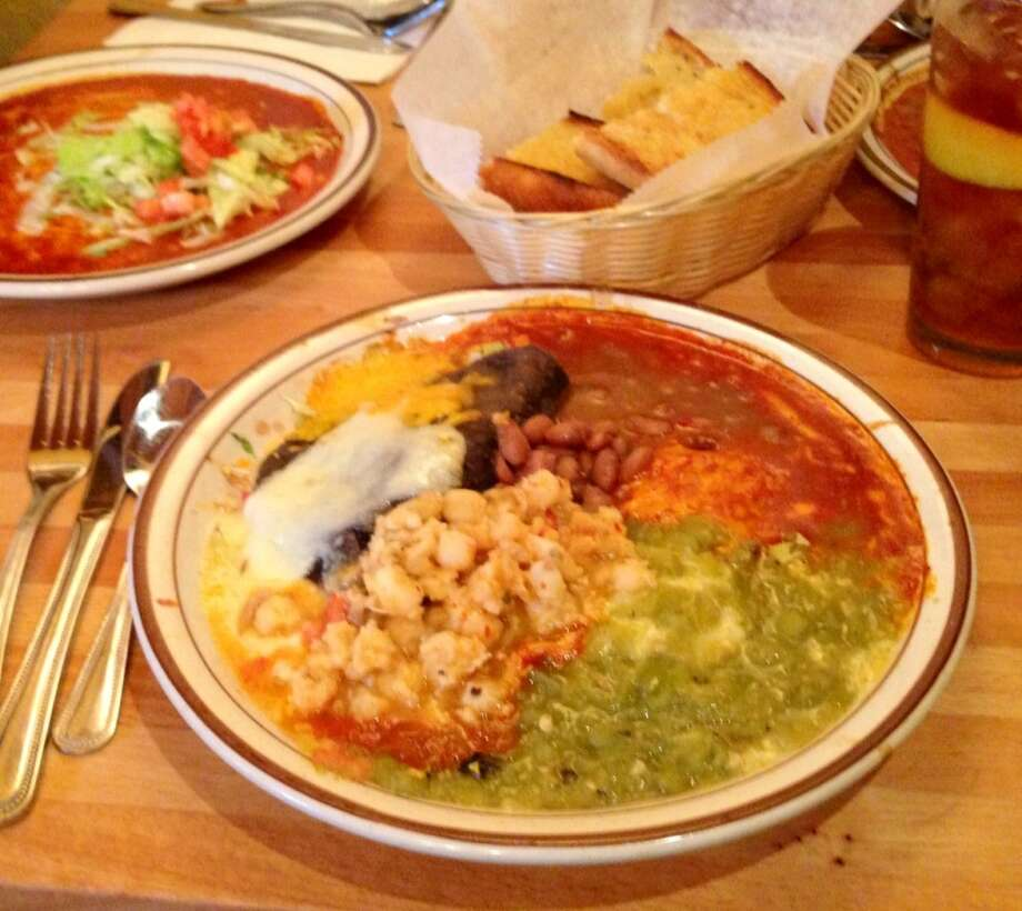 """Christmas"" at the Shed, red and green chile sauce over blue corn enchiladas"