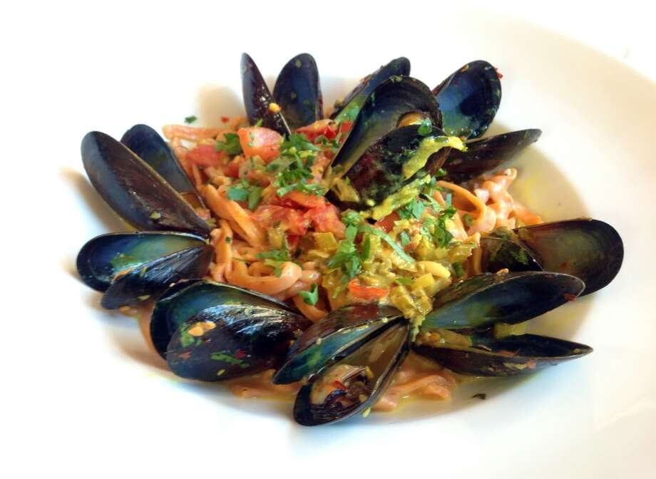 Red chile pasta with mussels at Il Piatto