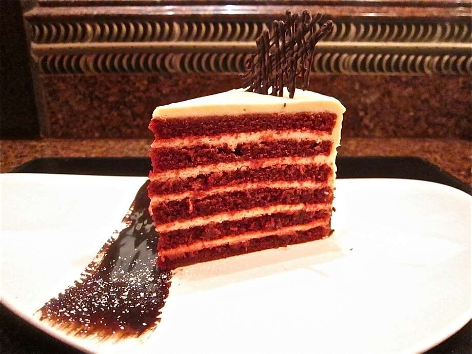 Red velvet torte with dark chocolate sauce at Vic & Anthony's Steakhouse.Keep clicking to see some of the other steakhouses around Houston we recommend.  Photo: Alison Cook