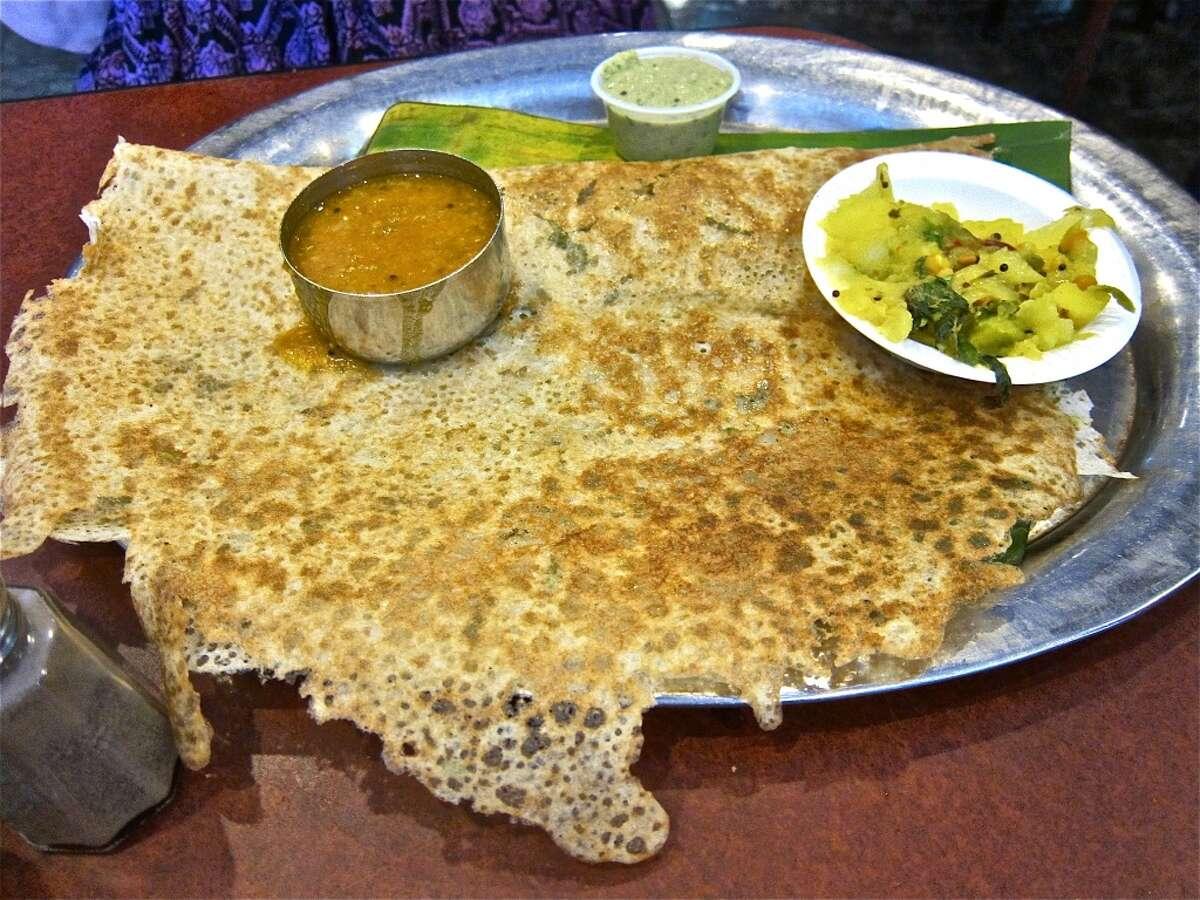 Rava dosa (semolina crepe) with sambar, chutney and spicy potato-onion filling at Shri Balaji Bhavan.