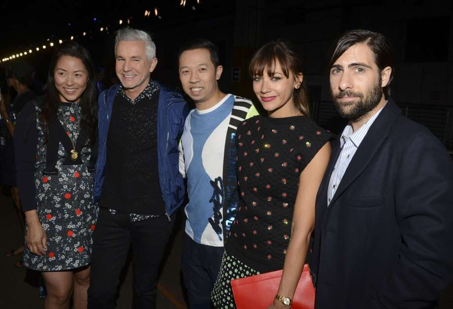 Designer Carol Lim, actor Baz Luhrmann, designer Humberto Leon, actress Rashida Jones and actor Jason Schwartzman attends the Opening Ceremony fashion show during Mercedes-Benz Fashion Week Spring 2014 at SuperPier 25 on September 8, 2013 in New York City. Photo: Vivien Killilea, Getty Images