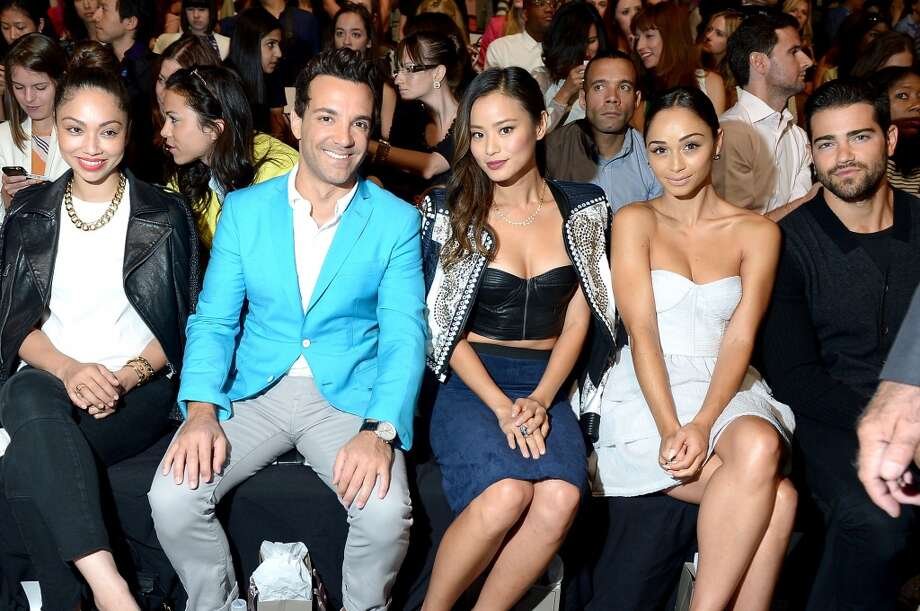 (2nd from L-R) George Kotsiopoulos, Jamie Chung, Cara Santana and Jesse Metcalfe attend the BCBGMAXAZRIA Spring 2014 fashion show during Mercedes-Benz Fashion Week at The Theatre at Lincoln Center on September 5, 2013 in New York City. Photo: Michael Loccisano, Getty Images For Mercedes-Benz Fashion Week
