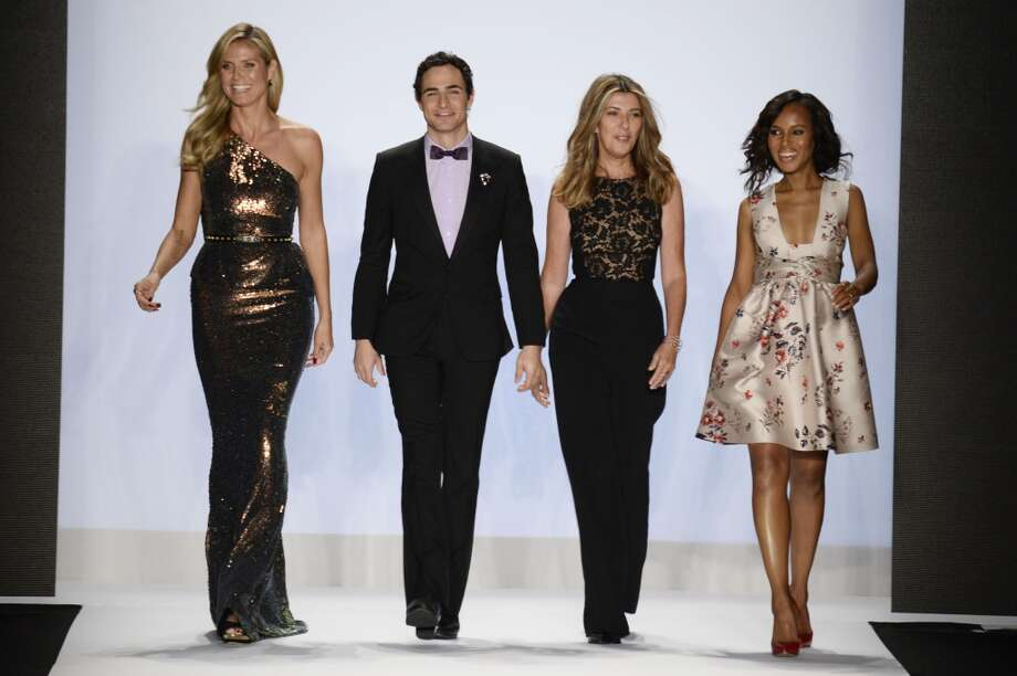 (L-R) Heidi Klum Zac Posen, Nina Garcia and Kerry Washington walk the runway at the Project Runway Spring 2014 fashion show during Mercedes-Benz Fashion Week at The Theatre at Lincoln Center on September 6, 2013 in New York City. Photo: Frazer Harrison, Getty Images For Mercedes-Benz Fashion Week