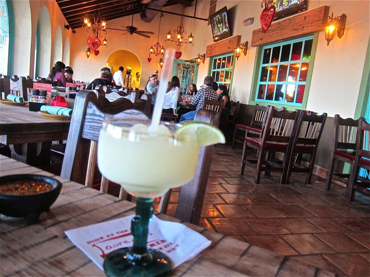Frozen margarita on the enclosed dining porch at the new El Tiempo Cantina on Navigation.