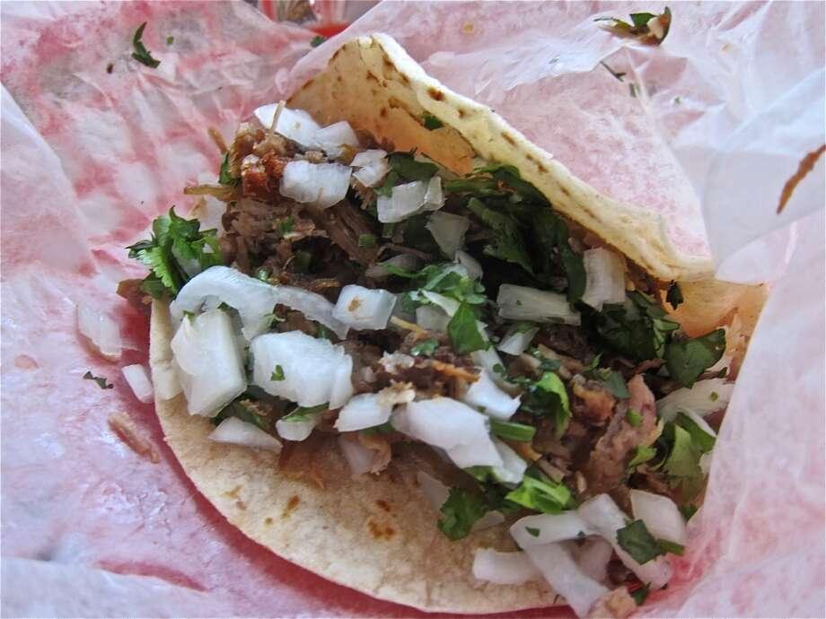 Carnitas tacos at La Azteca. Photo: Alison Cook
