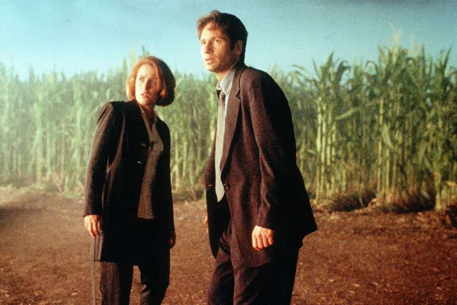 "FILE--FBI Special Agents Fox Mulder (David Duchovny) and Dana Scully (Gillian Anderson) search for clues in a foreboding cornfield in a scene from the movie 'The X-Files.'  ``The X-Files'' opens in theaters Friday, June 19, 1998 as a Hollywood novelty: a movie made from a TV series that is still popular, with the same actors and a script that advances the small-screen story line. (AP Photo/Twentieth Century Fox)  TV Chronilog - Friday - top pix. HOUCHRON CAPTION (08/22/1999):  ""The X-Files"" (1998), starring Gillian Anderson and David Duchovny, 8:30 p.m. MAX. Photo: AP / TWENTIETH CENTURY FOX"