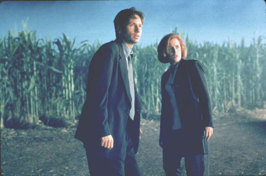 the x-files. david duchovny and gillian anderson   HOUCHRON CAPTION (06/11/1998):  David Duchovny and Gillian Anderson are zapped into computer technology as the stars of a new X-Files computer adventure game. Photo: Merrick Morton, 20th Century Fox / handout